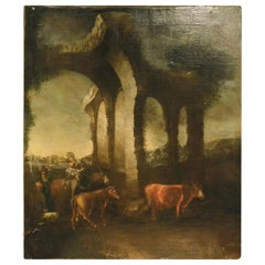 Antique Oil Painting on Canvas, Country Landscape with Ruins, '700/'800, Italy