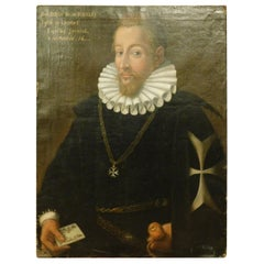Antique Oil Painting on Canvas Depicting a Member of Cigalini Family 1600, Italy