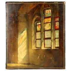 Antique Oil Painting on Canvas of Church Window, Early 20th Century