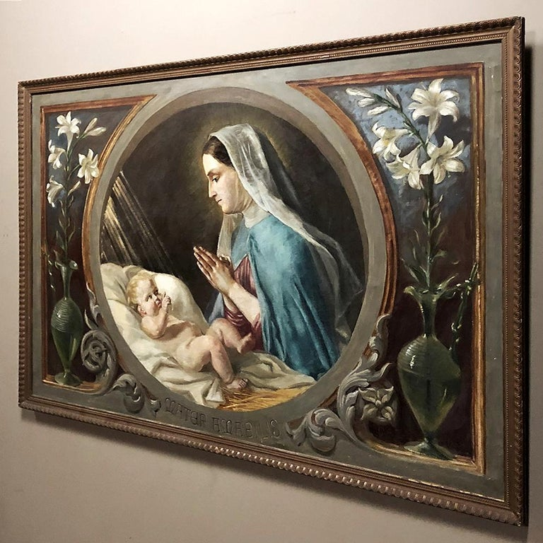 Italian Antique Oil Painting on Canvas of Madonna and Child For Sale