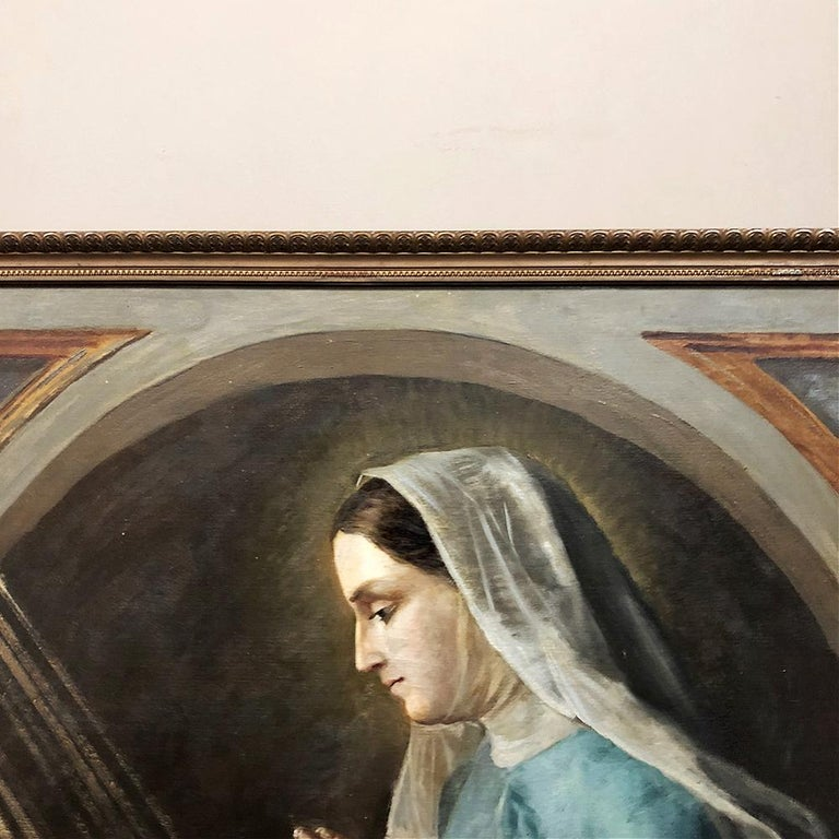 Antique Oil Painting on Canvas of Madonna and Child In Good Condition For Sale In Dallas, TX
