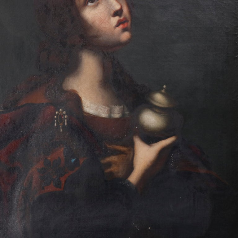 Italian Antique Oil Painting on Canvas Old Master Copy Mary Magdalene, 19th Century
