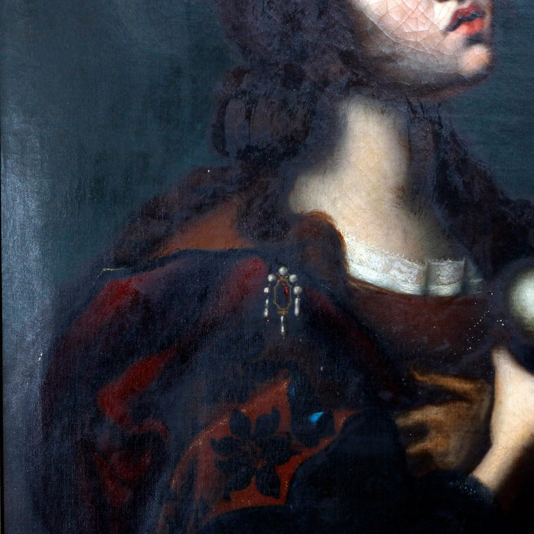 Carved Antique Oil Painting on Canvas Old Master Copy Mary Magdalene, 19th Century