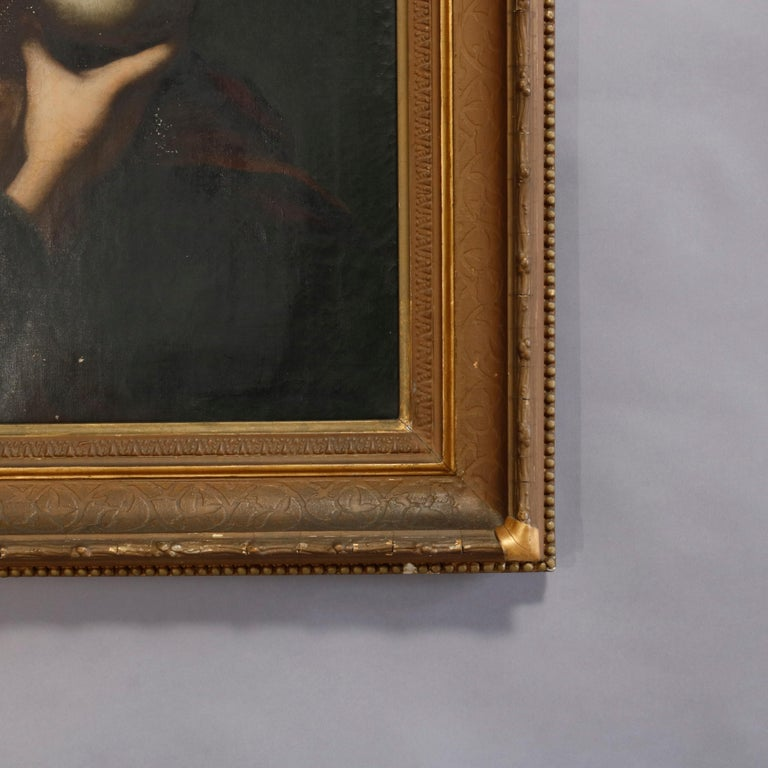Antique Oil Painting on Canvas Old Master Copy Mary Magdalene, 19th Century 3