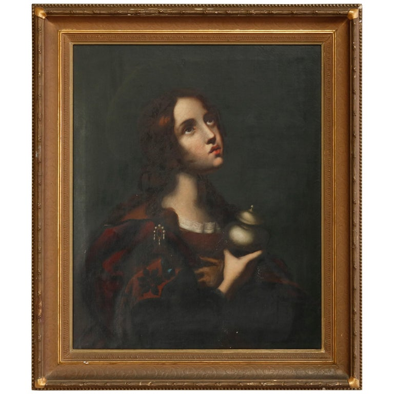 Antique Oil Painting on Canvas Old Master Copy Mary Magdalene, 19th Century