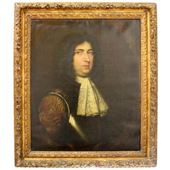Antique Oil Painting, Portrait of a Gent in Armour, circa 1680, by Mary Beale