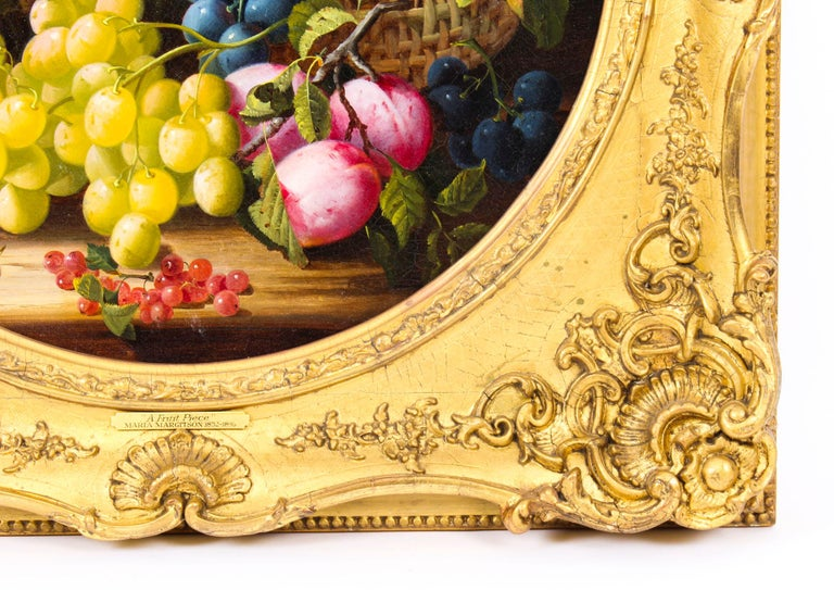 Antique Oil Painting Still Life of Fruit Attributed to Maria Margitson For Sale 4