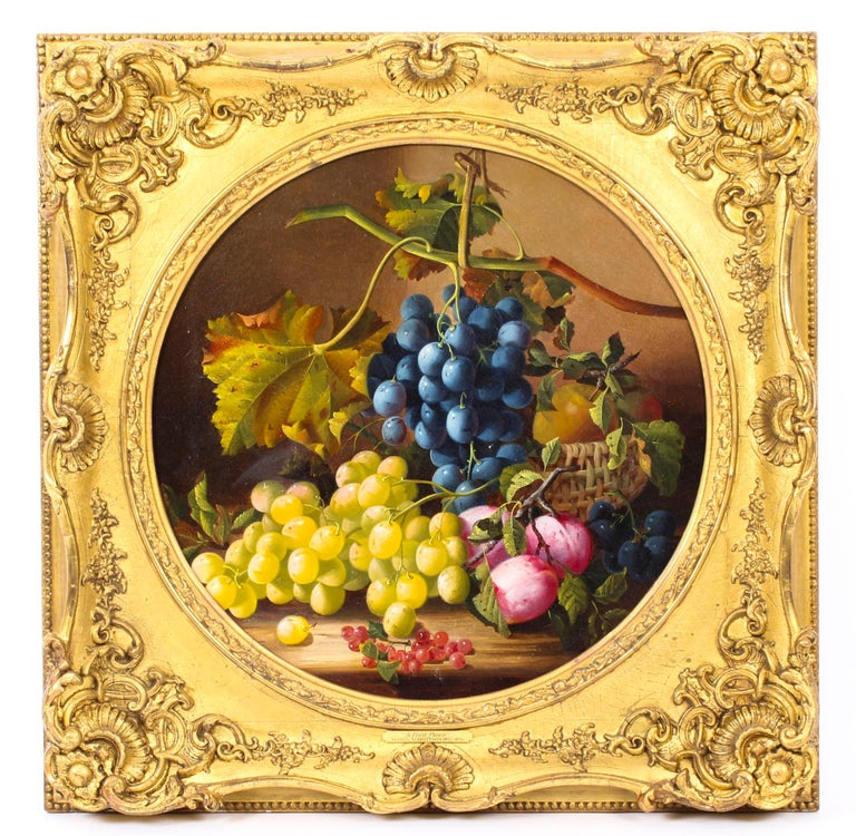 Antique Oil Painting Still Life of Fruit Attributed to Maria Margitson For Sale 7