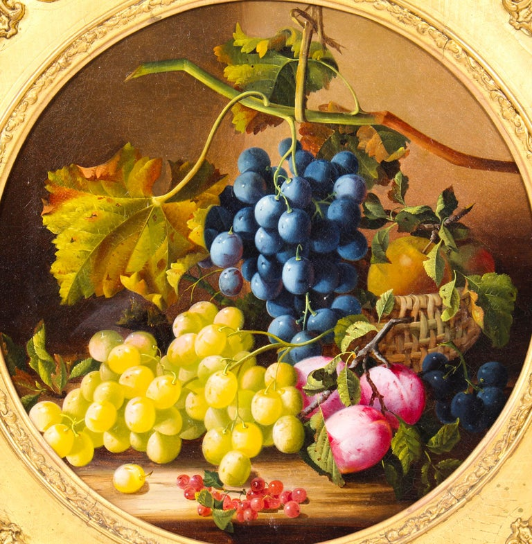 This is a truly magnificent antique Victorian still life oil on canvas painting titled 'A Fruit Piece' and attributed to the British female artist, Maria Margitson (1832-1896), and circa 1870 in date.   This stunning still life is circular in