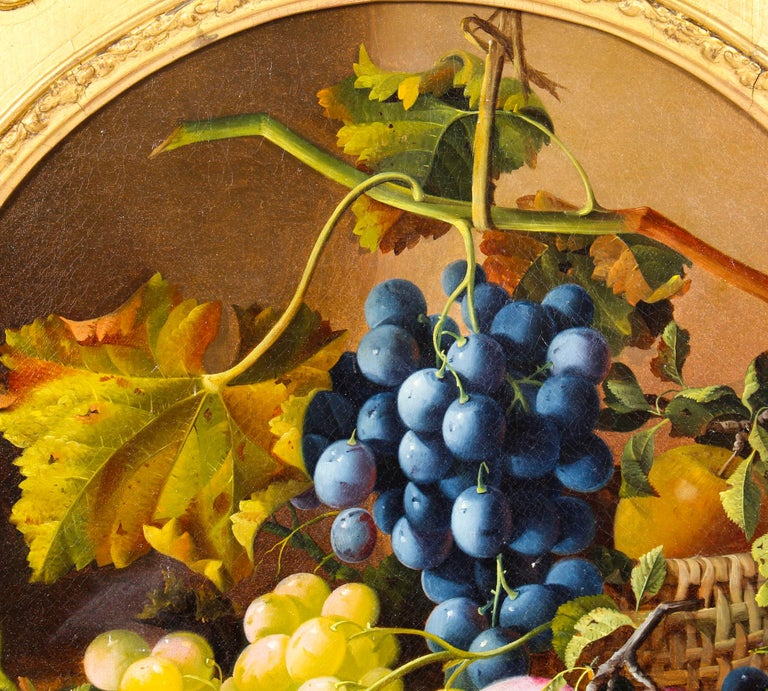 Victorian Antique Oil Painting Still Life of Fruit Attributed to Maria Margitson For Sale