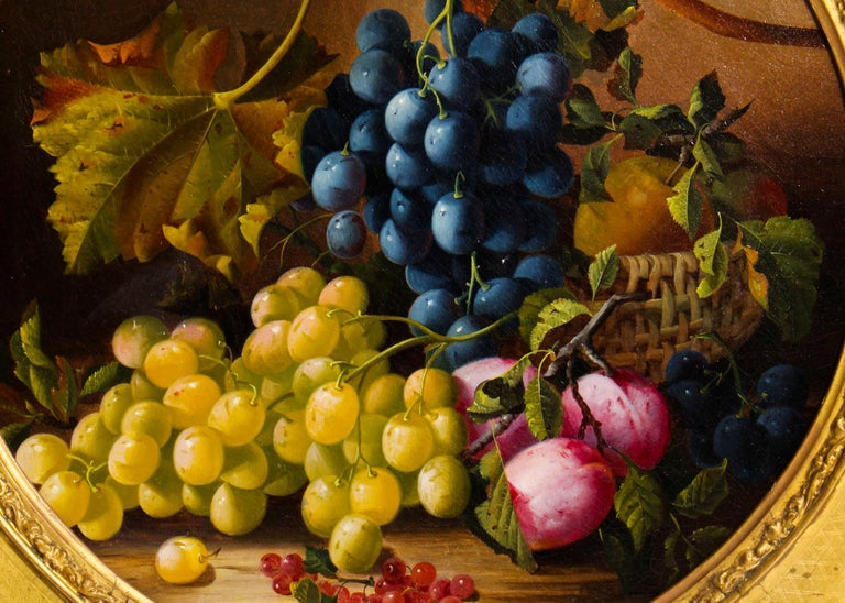 British Antique Oil Painting Still Life of Fruit Attributed to Maria Margitson For Sale