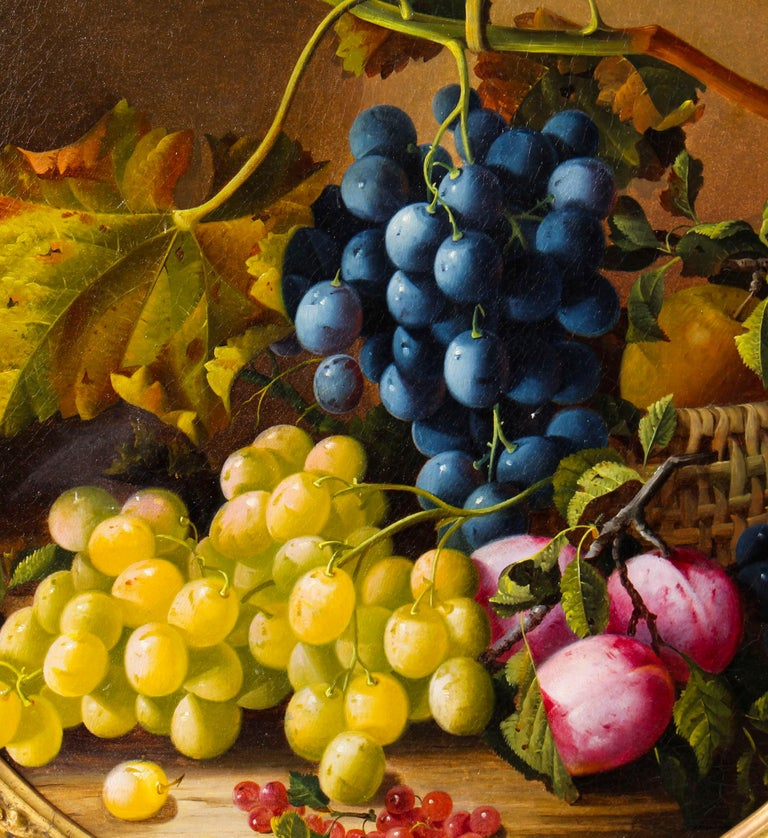 Antique Oil Painting Still Life of Fruit Attributed to Maria Margitson In Good Condition For Sale In London, GB