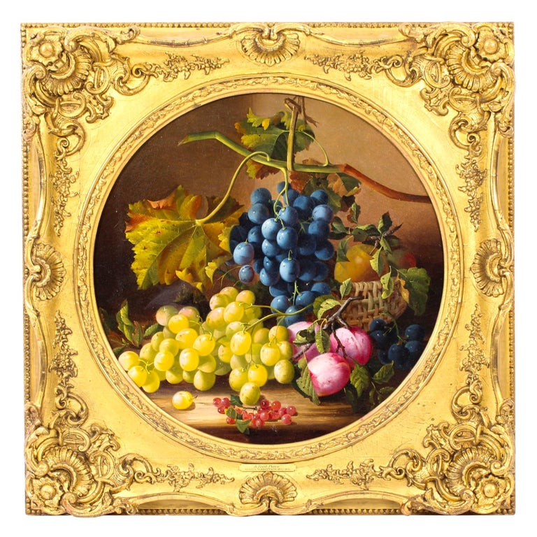 Antique Oil Painting Still Life of Fruit Attributed to Maria Margitson For Sale