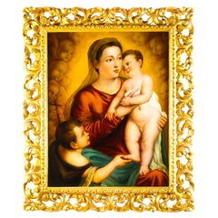 Antique Oil Painting 'The Virgin Child and Saint John' by Egisto Manzuoli