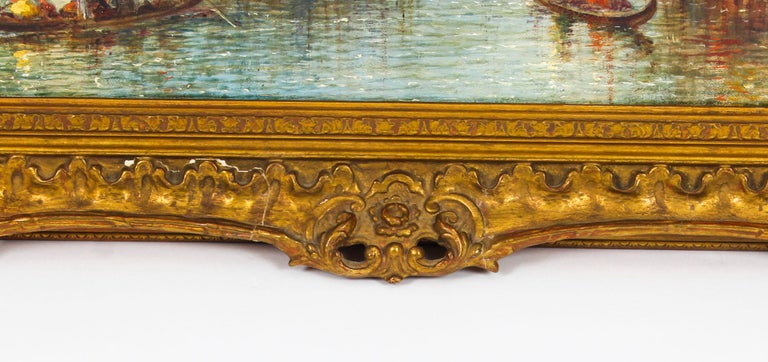 Late 19th Century Antique Oil Painting Venetian Scene of The Grand Canal J.Vivian, 19th Century For Sale
