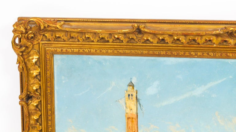 Antique Oil Painting Venetian Scene of The Grand Canal J.Vivian, 19th Century For Sale 1