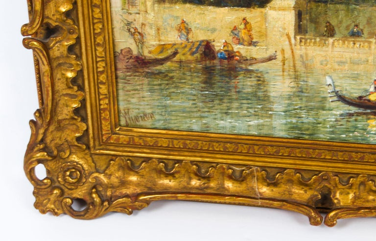 Antique Oil Painting Venetian Scene of The Grand Canal J.Vivian, 19th Century For Sale 2