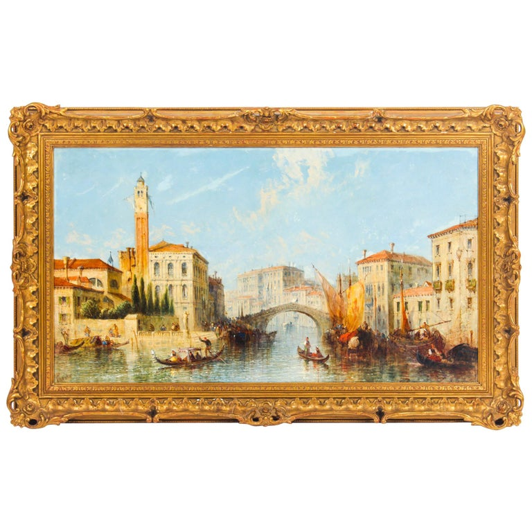 Antique Oil Painting Venetian Scene of The Grand Canal J.Vivian, 19th Century For Sale