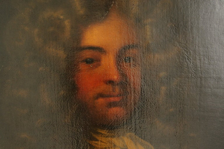 Antique oil painting, young gentleman, English School, ornate gilt frame, England, 1800s, B641A  England, 18th century Oil on canvas Well executed half-length portrait Original oval frame (some damage) Provenance, Hy's Restaurant in Ottawa,
