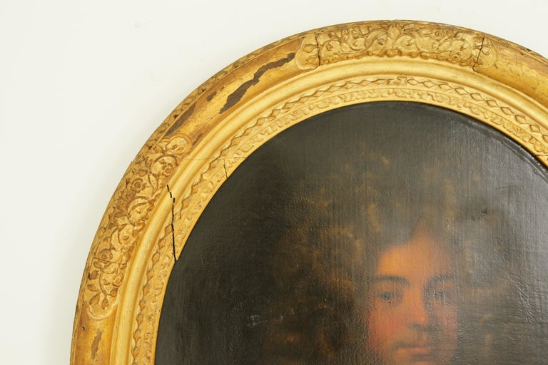 Canvas Antique Oil Painting, Young Gentleman, English School, Ornate Gilt Frame, B641A