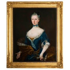 Antique Oil Portrait of a Lady, European, Early 18th Century