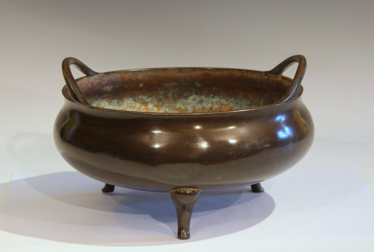Qing Antique Old Chinese Bronze Large Censor Footed Bowl Antique Patinated For Sale