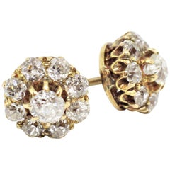 Antique Old Cut Coronet Cluster Earrings, circa 1890