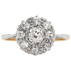 Antique Old Cut Diamond 18 Carat Yellow Gold and Platinum Coronet Cluster Ring