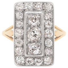 Antique Old Cut Diamond 18 Carat Yellow Gold and Platinum Rectangular Dress Ring