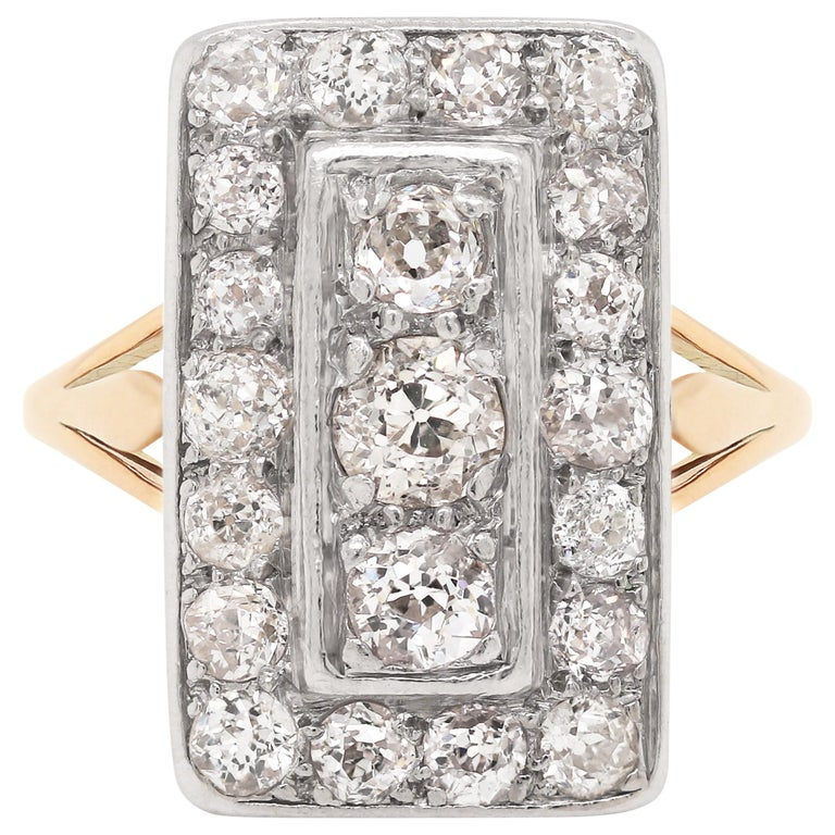 Antique Old Cut Diamond 18 Carat Yellow Gold and Platinum Rectangular Dress Ring For Sale
