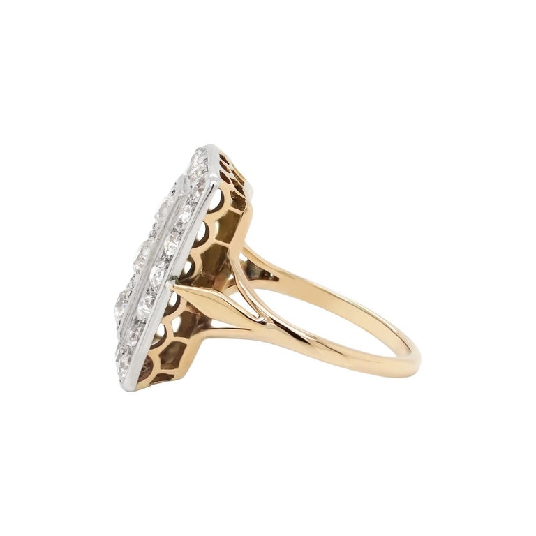 Art Nouveau Antique Old Cut Diamond 18 Carat Yellow Gold and Platinum Rectangular Dress Ring For Sale