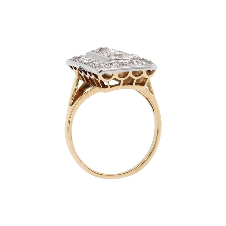 Old Mine Cut Antique Old Cut Diamond 18 Carat Yellow Gold and Platinum Rectangular Dress Ring For Sale