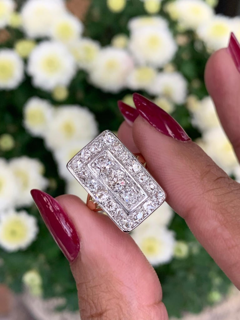 Antique Old Cut Diamond 18 Carat Yellow Gold and Platinum Rectangular Dress Ring In Good Condition For Sale In London, GB