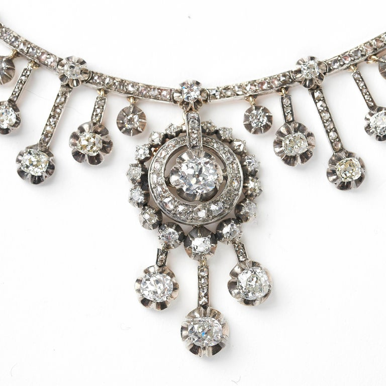Late Victorian Antique Old-Cut Diamond Fringe Necklace For Sale