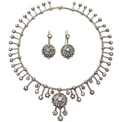 Antique Old-Cut Diamond Fringe Necklace
