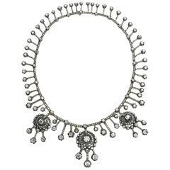 Antique Old-Cut Diamond Fringe Necklace