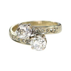 Antique Old Cut Diamond Gold Cross-Over Ring