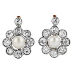 Antique Old Cut Diamond Pearl Platinum 18k Gold Flower Earrings