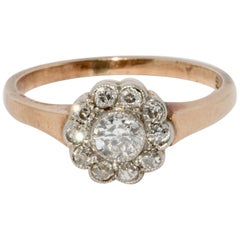 Antique Old Cut Diamond Ring, 14 Karat Gold, Art Nouveau