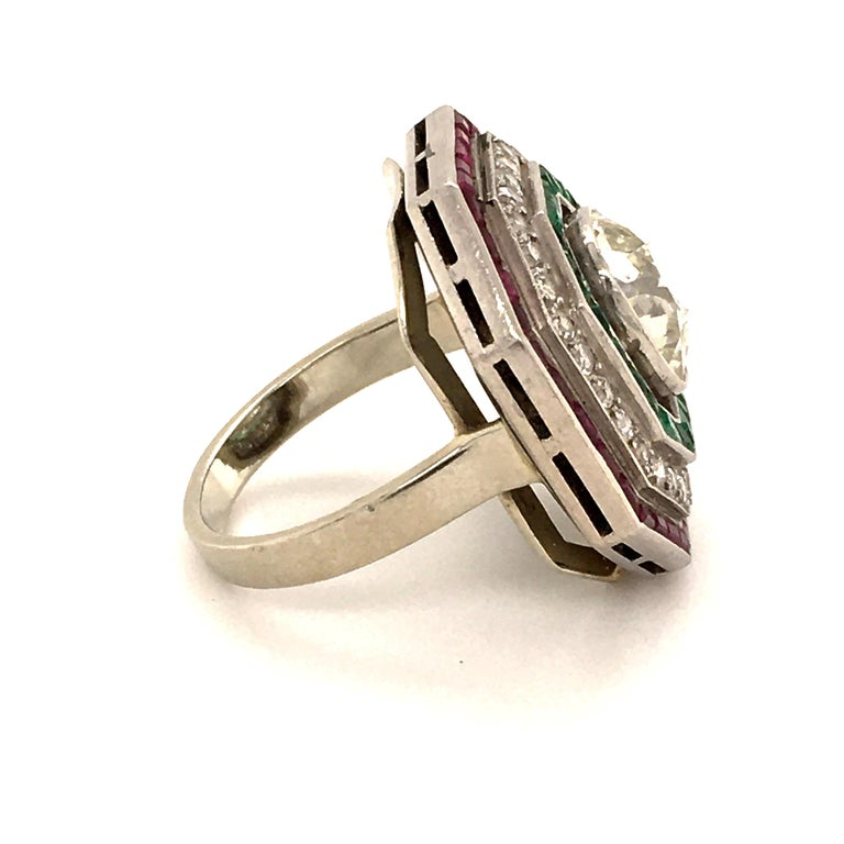 Art Deco Antique Old Cut Diamond Ring in Platinum 950 with Emeralds and Rubies For Sale