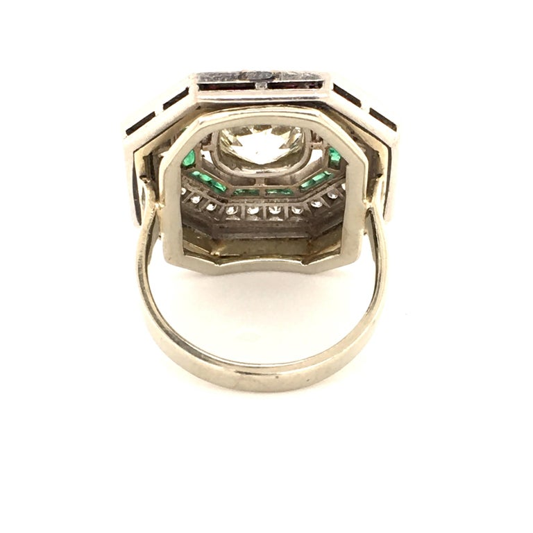 Old Mine Cut Antique Old Cut Diamond Ring in Platinum 950 with Emeralds and Rubies For Sale