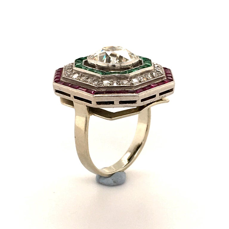 Women's or Men's Antique Old Cut Diamond Ring in Platinum 950 with Emeralds and Rubies For Sale