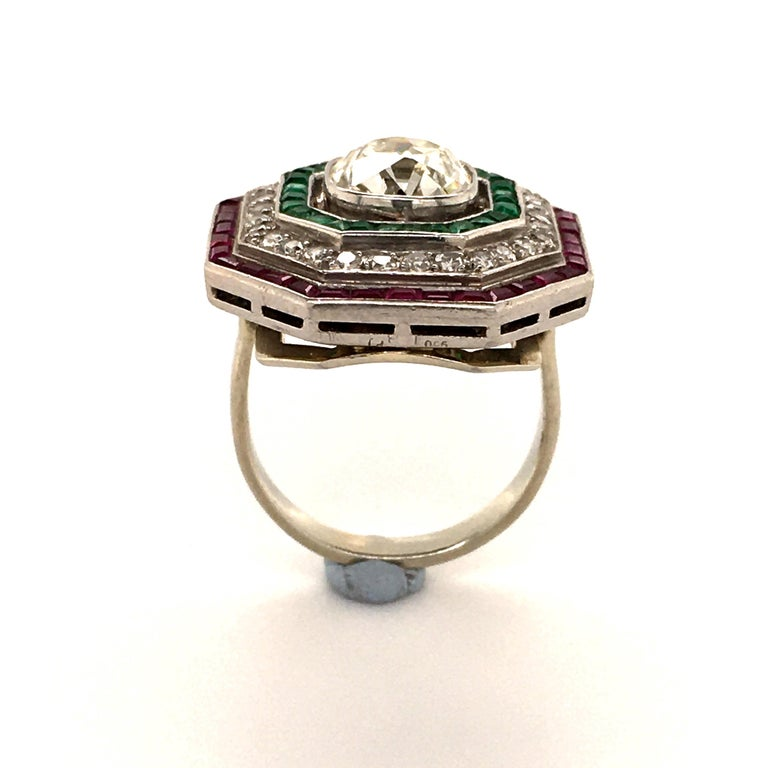Antique Old Cut Diamond Ring in Platinum 950 with Emeralds and Rubies For Sale 1