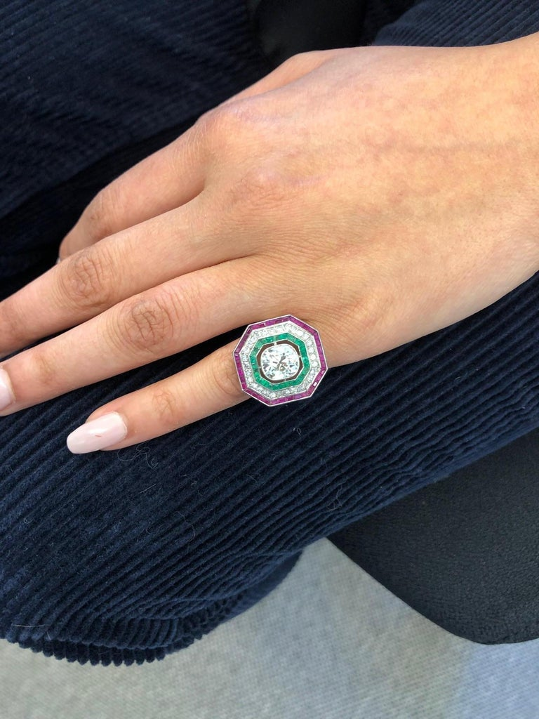 Antique Old Cut Diamond Ring in Platinum 950 with Emeralds and Rubies For Sale 2