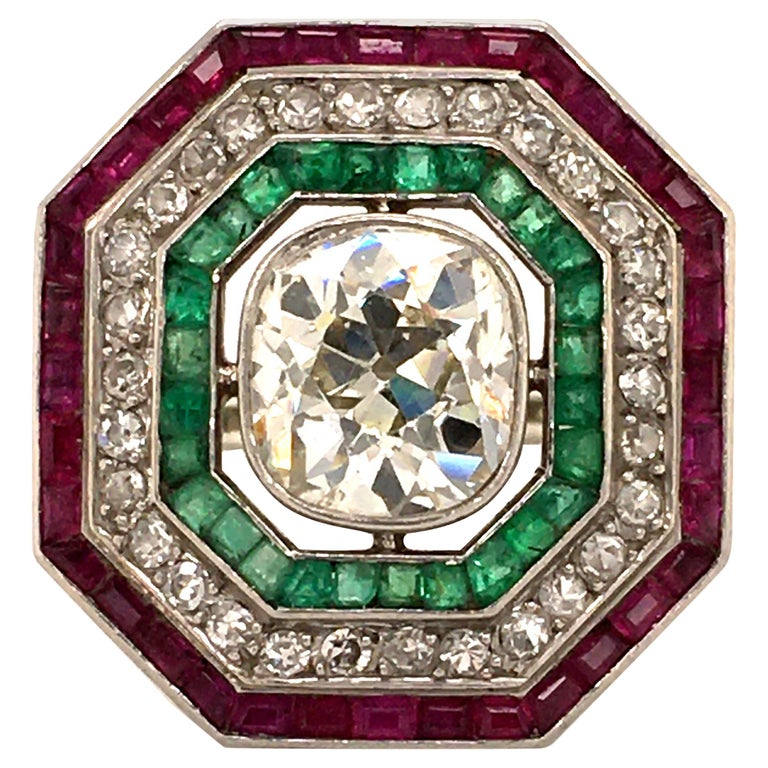 Antique Old Cut Diamond Ring in Platinum 950 with Emeralds and Rubies For Sale
