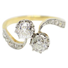 Antique Old Cut Diamond Two-Stone Cross over Ring, circa 1900