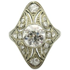 Antique Old European and Old Mine Cut Diamond Milgrain Shield Ring