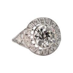 Antique Old European Cut 2.25 Carat Diamond Platinum Engagement Ring