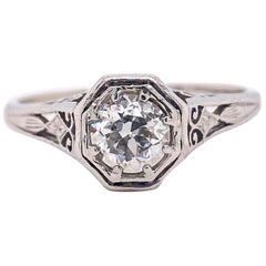 Antique Old European Cut Diamond 0.55 Carat Platinum Engagement Ring