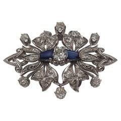 Antique Old European Cut Diamond 18 Carats White Gold Platinum Brooch